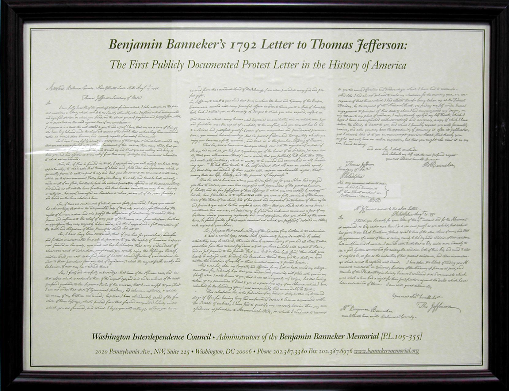benjamin banneker letter to thomas jefferson benjamin banneker a memorial to america s black 4252